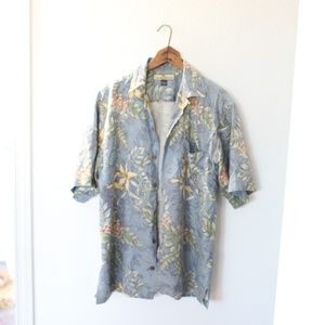 Tommy Bahama bue silk hawaiian shirt mens S
